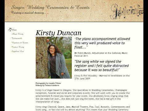 Kirsty Duncan Singer Wedding Ceremonies and Events